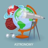 Educational astronomy banner with earth globe, telescope, googles and planets. Design for posters in education astronomy. Sphere. Vector illustration to educate royalty free illustration