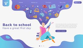 Educational banner or landing page concept template about love to reading. Vector lovely woman character portrait, holding paper. Book in hands. School supplies stock illustration