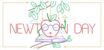 Educational banner Newton Day. Educational banner for the holiday Newton Day. illustration in the linear style vector illustration