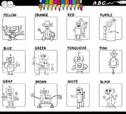 Educational basic colors set coloring book. Black and White Cartoon Illustration of Basic Colors Educational Workbook Set for Children with Robots Comic Stock Photo