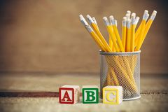 Educational blocks and pencils Royalty Free Stock Photos
