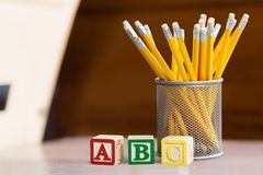 Educational blocks and pencils Royalty Free Stock Photography
