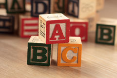 Educational Blocks. Wooden, colorful educational blocks showing words ABC Royalty Free Stock Image