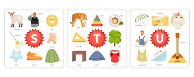 Pictures to letters S, T, U vector. Educational cards with words and pictures to the letters S, T, U. Children alphabet. Vector illustration royalty free illustration