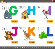 Educational cartoon alphabet with animals. Cartoon Illustration of Capital Letters Alphabet Educational Set for Reading and Writing Practise for Children from G vector illustration