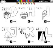 Educational cartoon alphabet color book. Black and White Cartoon Illustration of Capital Letters Alphabet Educational Set for Reading and Writing Learning for vector illustration