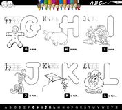 Educational cartoon alphabet for kids coloring page. Black and White Cartoon Illustration of Capital Letters Alphabet Educational Set for Reading and Writing vector illustration