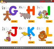Educational cartoon alphabet for kids. Cartoon Illustration of Capital Letters Alphabet Educational Set for Reading and Writing Learning for Children from G to L vector illustration