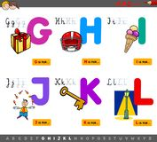 Educational cartoon alphabet letters for children. Cartoon Illustration of Capital Letters Alphabet Educational Set for Reading and Writing Learning for Kids stock illustration