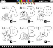 Educational cartoon alphabet letters for coloring. Black and White Cartoon Illustration of Capital Letters Alphabet Set with Animal Characters for Reading and Royalty Free Stock Photography