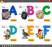Educational cartoon alphabet letters Stock Images