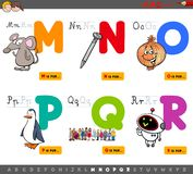 Educational cartoon alphabet letters set. Cartoon Illustration of Capital Letters Alphabet Educational Set for Reading and Writing Practise for Children from M royalty free illustration