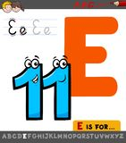 Letter E worksheet with cartoon eleven number. Educational Cartoon Illustration of Letter E from Alphabet with Eleven Number for Children royalty free illustration