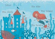 Educational cartoon illustration of a mermaid in c Royalty Free Stock Photos