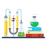 Educational chemical laboratory. Concept of educational chemistry experiment. Chemist workspace. Chemical reactions research. Flat cartoon laboratory Stock Images