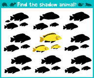 Educational children cartoon game for children of preschool age. Find the right shade of cute aquarium fish. Vector Stock Photos