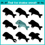 Educational children cartoon game for children of preschool age. Find the right shade cute marine manatee. Vector Stock Image