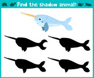 Educational children cartoon game for children of preschool age. Find the right shade cute narwhal sea. Vector Royalty Free Stock Image