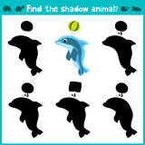 Educational children cartoon game for children of preschool age. Find the right shade cute sea Dolphin. Vector Royalty Free Stock Images