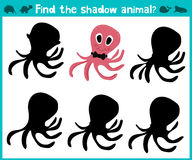 Educational children cartoon game for children of preschool age. Find the right shade cute sea octopus. Vector Stock Photos