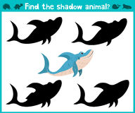Educational children cartoon game for children of preschool age. Find the right shade cute sea sharks. Vector vector illustration