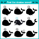 Educational children cartoon game for children of preschool age. Find the right shade cute sea whale. Vector Royalty Free Stock Photo