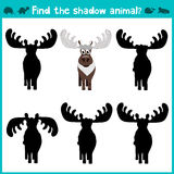 Educational children cartoon game for children of preschool age. Find the right shade of reindeer. Vector Royalty Free Stock Images