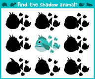 Educational children cartoon game for children of preschool age. Find the right shadow of a predatory fish of the Amazon river pir Royalty Free Stock Image
