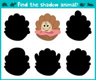 Educational children cartoon game for children of preschool age. To find the right shade of sweet scallop. Vector Royalty Free Stock Image