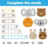 Educational children game. Complete the words kids activity. Animals theme. Learning vocabulary. Worksheet for pre school years and toddlers Royalty Free Stock Photography