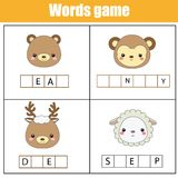 Educational children game. Complete the words kids activity. Animals theme. Learning vocabulary. Worksheet for pre school years and toddlers Royalty Free Stock Images