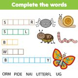 Educational children game. Complete the words kids activity. Insects theme. Learning vocabulary
