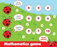 Educational children game. Counting game. Math kids activity. How many objects task. Learning mathematics, numbers, addition theme royalty free illustration