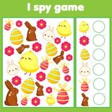 Educational children game. I spy sheet for toddlers. Find and count Easter activty for kids. Educational children game. I spy sheet for toddlers. Find and count vector illustration