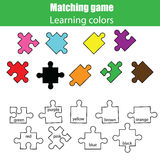 Educational children game, kids activity. Learning colors matching game. Educational children game. Learning colors matching puzzle game Royalty Free Stock Image