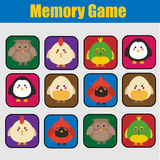 Educational children game, kids activity. Memory game, animals theme