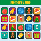 Educational children game, kids activity. Memory game, Christmas, new year winter holidays theme Royalty Free Stock Photos