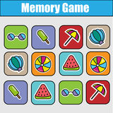 Educational children game, kids activity. Memory game, summer holidays theme Royalty Free Stock Photo