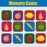 Educational children game, kids activity. Memory game, summer holidays theme