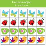 Educational children game. Logic game. Find extra object in row. What does not fit type. For toddlers Stock Photo
