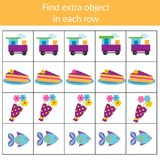 Educational children game. Logic game. Find extra object in row. What does not fit type. For toddlers Stock Photography