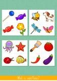 Educational children game. Logic game for kids. What is superfluous. Educational children game, vector. Logic game for kids. What is superfluous stock illustration