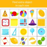 Educational children game. Logic game. What does not fit type. Find odd one, extra object fun page for kids and toddlers. Learning colors, shapes royalty free illustration