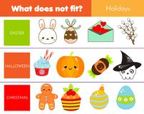 Educational children game. Logic game. What does not fit type. learning world holidays for kids and toddlers vector illustration