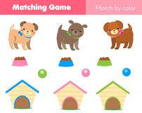 Educational children game. Match by color. Animals theme kids activity with cartoon dog. Educational children game. Match by color. Animals theme kids activity Royalty Free Stock Photos
