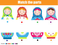 Educational children game. Match by color. Find halfs of matreshka doll Royalty Free Stock Images