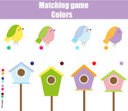 Educational children game. Match by color. Find pairs of birds and birdhouse royalty free illustration