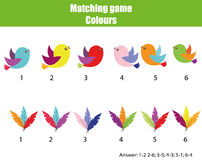 Educational children game. Match by color. Find pairs of birds and feathers. Educational children game. Matching game worksheet for kids. Match by color. Find Royalty Free Stock Images