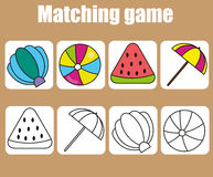 Educational children game. Match colored and outline objects. learning shapes. Educational children game. Match colored and outline objects. Learning colors and Stock Image