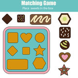 Educational children game. Match by shapes kids activity Royalty Free Stock Photos